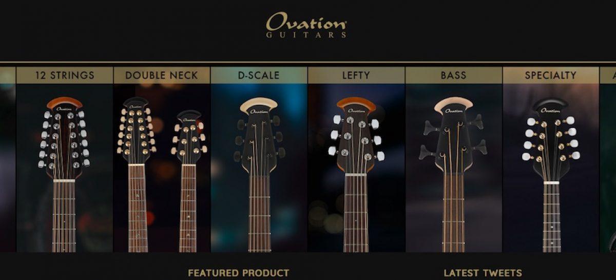 Site Ovationguitars.com renovado para 2019