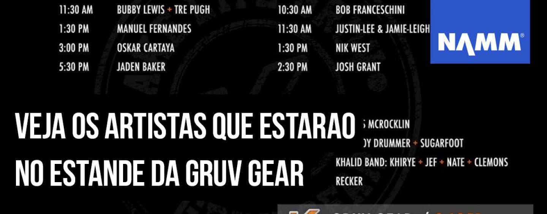 """NAMM 2020: Nik West, Oskar Cartaya & """"Sugarfoot"""" no estande da Gruv Gear"""